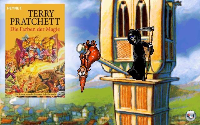 <br><br><b>Discworld</b> (Terry Pratchett, 1983)<br><br>�hnlich wie Douglas Adams war und ist auch Terry Pratchett ein ziemlicher Geek - nach eigener Aussage verbringt er viel zuviel Zeit im Internet und mit Ego-Shootern, was ihn aber nicht daran hindert, Jahr f�r Jahr brillante Scheibenwelt-Romane unters Volk zu bringen. Bereits kurz nach der Ver�ffentlichung seines ersten Discworld-Romanes �The Colour of Magic� gab es ein gleichnamiges Textadventure, aber richtig gut wurde die Reihe erst mit den beiden Point-n-Click-Adventures (1995 bzw. 1996) sowie dem ungew�hnlichen �Discworld Noir� von 1999. 2056808