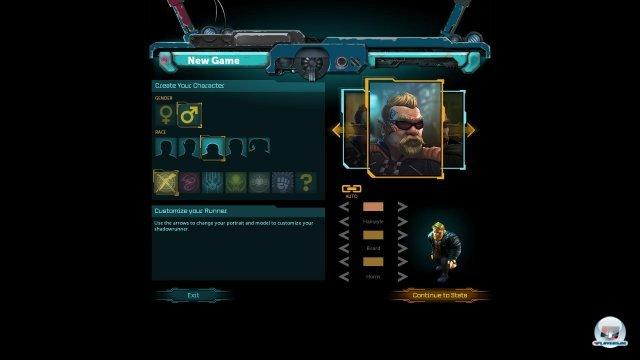 Zu Beginn erstellt man einen m�nnlichen oder weiblichen Charakter: Schamane, Magier und Samurai erkl�ren sich von selbst; Rigger wie dieser Zwerg hantieren mit Drohnen; Decker hacken sich u.a. in die virtuelle Matrix.