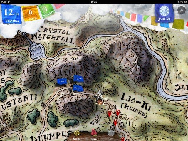 Man bewegt seinen Helden auf der handgezeichneten Karte von Ort zu Ort und hat dabei meist freie Routenwahl.