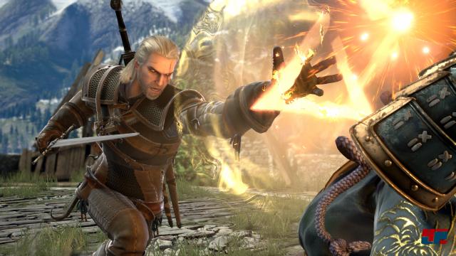 Auch Witcher Geralt ist als Gast mit von der Partie. Und er macht in den aufwändig inszenierten Kämpfen eine gute Figur.