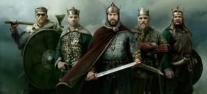 Historische Strategie mit Axt und Rundschild