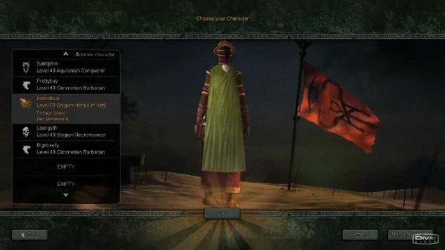 Charakter-Auswahl-Bildschirm