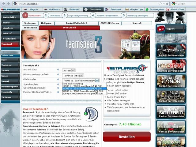 Teamspeak 3-Server bei 4Netplayers bestellen